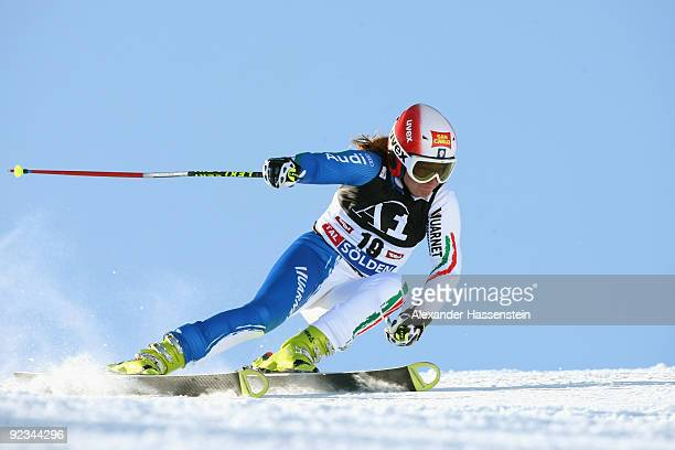 Nicole Gius of Italy competes in the Women's giant slalom event of the Woman's Alpine Skiing FIS World Cup at the Rettenbachgletscher on October 24,...