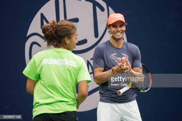 Nicole Hammond and Rafael Nadal attend the 2018 Arthur Ashe Kids' Day at USTA Billie Jean King National Tennis Center on August 25 2018 in New York...