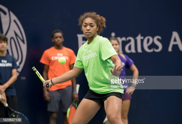 Nicole Hammond plays tennis at the 2018 Arthur Ashe Kids' Day at USTA Billie Jean King National Tennis Center on August 25 2018 in New York City