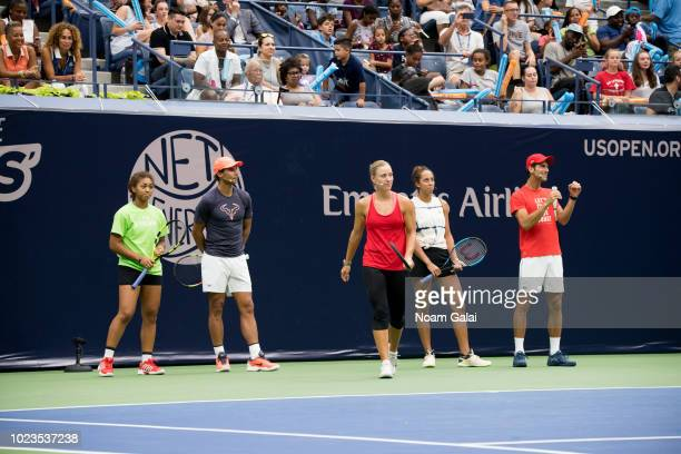 Nicole Hammond Rafael Nadal Angelique Kerber Novak Djokovic and Madison Keys attend the 2018 Arthur Ashe Kids' Day at USTA Billie Jean King National...
