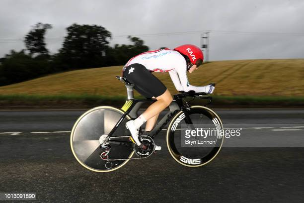 Nicole Hanselmann of Switzerland rides during the Women's Road Cycling on Day Seven of the European Championships Glasgow 2018 at Glasgow Cycling TT...