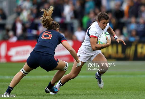 Nicole Heavirland of The USA runs at Marjorie Mayans France during the Women's Rugby World Cup 2017 Third Place Match between France and The USA on...