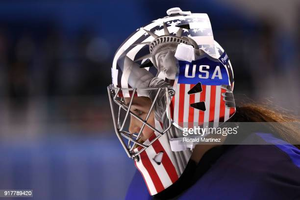 Nicole Hensley of the United States looks on in the game against Olympic Athletes from Russia during the Women's Ice Hockey Preliminary Round Group A...