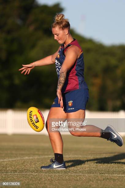 Nicole Hildebrand kicks during a Brisbane Lions AFL training session at Leyshon Park on January 15 2018 in Brisbane Australia
