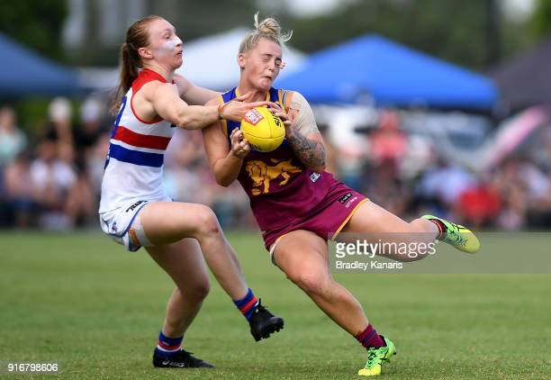 Nicole Hildebrand of the Lions takes a mark during the round two AFLW match between the Brisbane Lions and the Western Bulldogs at South Pine Sports...