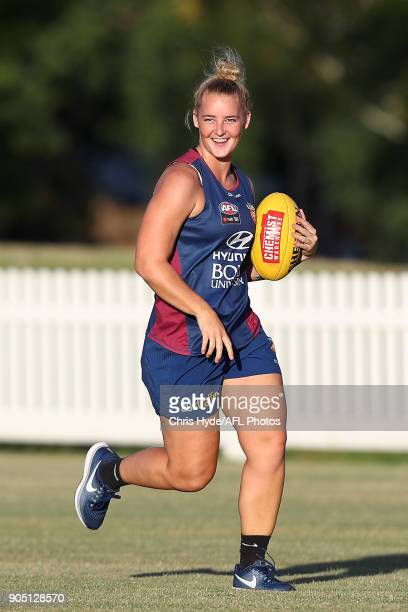 Nicole Hildebrand runs during a Brisbane Lions AFL training session at Leyshon Park on January 15 2018 in Brisbane Australia