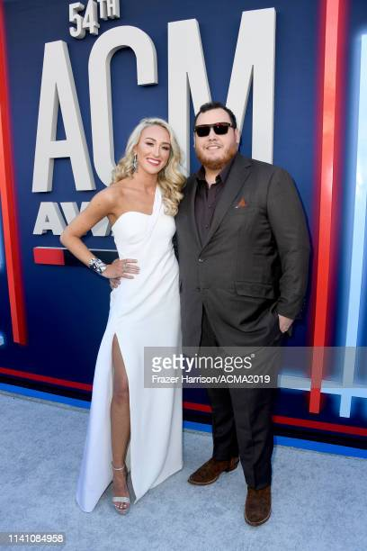 Nicole Hocking and Luke Combs attend the 54th Academy Of Country Music Awards at MGM Grand Hotel Casino on April 07 2019 in Las Vegas Nevada