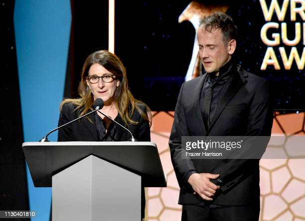 Nicole Holofcener and Jeff Whitty accept an award onstage during the 2019 Writers Guild Awards LA Ceremony at The Beverly Hilton Hotel on February 17...