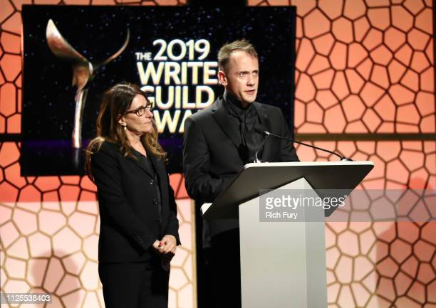 Nicole Holofcener and Jeff Whitty winners of Adapted Screenplay speak onstage during the 2019 Writers Guild Awards LA Ceremony at The Beverly Hilton...