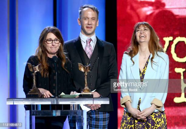"Nicole Holofcener Jeff Whitty and Marielle Heller accept Best Screenplay for ""Can You Ever Forgive Me"" onstage during the 2019 Film Independent..."