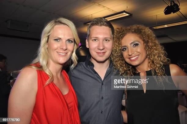 Nicole Hosp Clemens Trischler and Eser AriAkbaba pose during the 'Dancing Stars' finals at ORF Zentrum on June 2 2017 in Vienna Austria