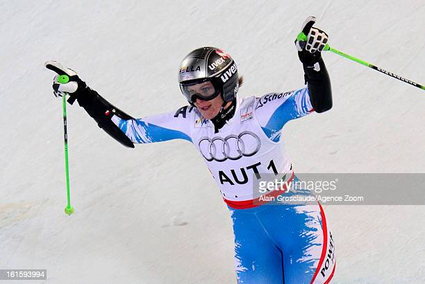 Nicole Hosp of Austria competes during the Audi FIS Alpine Ski World Championships Nation's Team Event on February 12 2013 in Schladming Austria