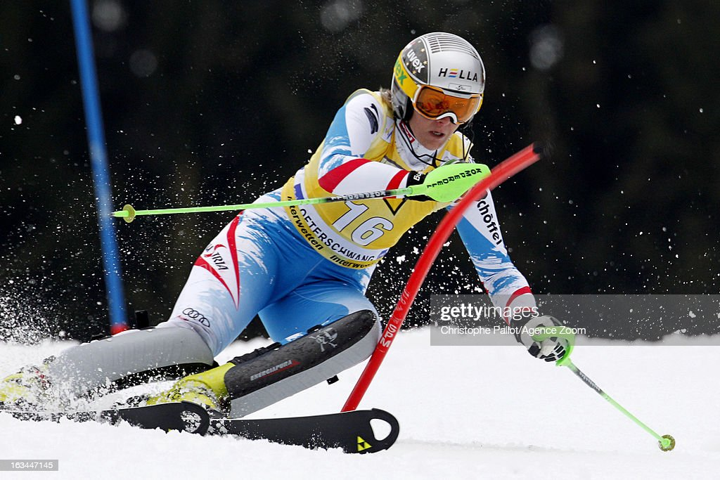 Nicole Hosp of Austria competes during the Audi FIS Alpine Ski World Cup Women's Slalom on March 10, 2013 in Ofterschwang, Germany.