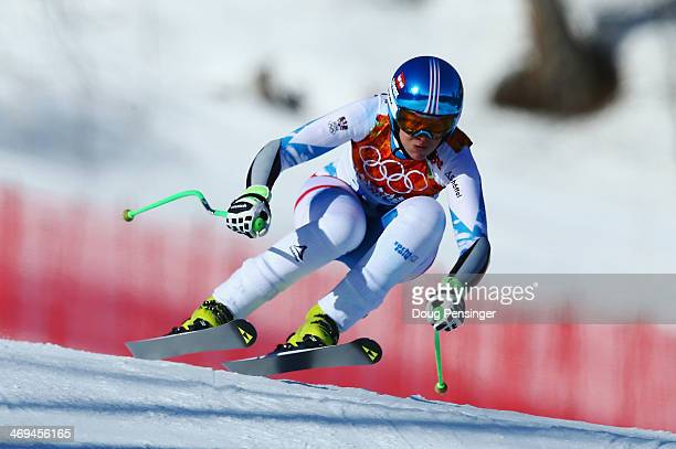 Nicole Hosp of Austria in action during the Alpine Skiing Women's SuperG on day 8 of the Sochi 2014 Winter Olympics at Rosa Khutor Alpine Center on...