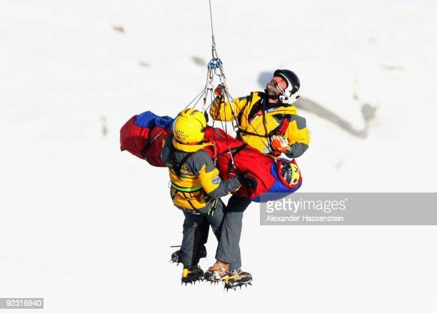 Nicole Hosp of Austria is carried away on a rescue helicopter after getting injured in the Women's giant slalom event of the Woman's Alpine Skiing...
