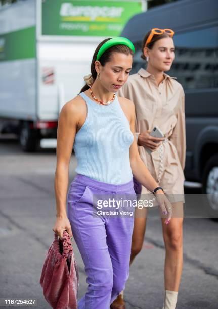 Nicole Huisman seen wearing purple pants outside Cecilie Bahnsen during Copenhagen Fashion Week Spring/Summer 2020 on August 07, 2019 in Copenhagen,...