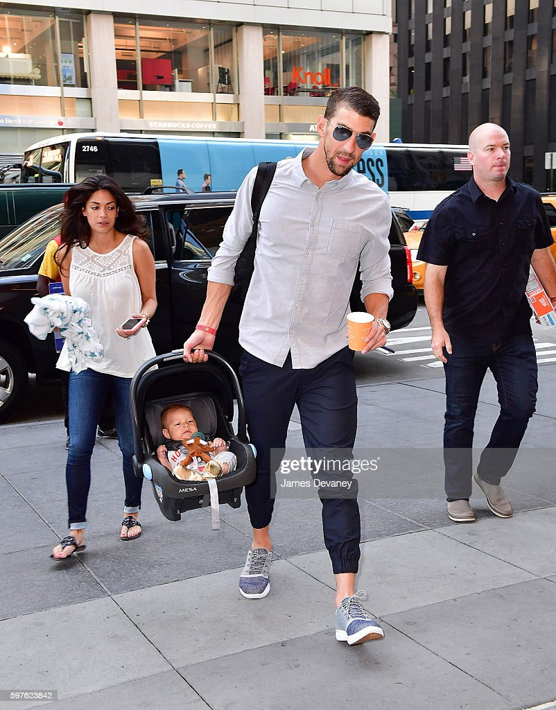Nicole Johnson, Boomer Phelps and Michael Phelps seen on the streets of Manahttan on August 29, 2016 in New York City.