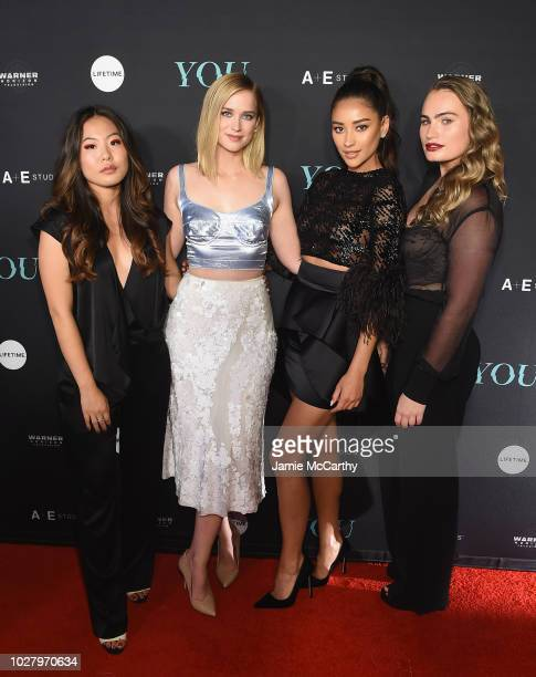 Nicole Kang Elizabeth Lail Penn Badgley Shay Mitchell and Kathryn Gallagher attend the You Series Premiere Celebration hosted by Lifetime on...