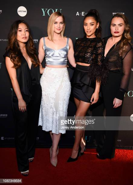 """Nicole Kang, Elizabeth Lail, Shay Mitchell and Kathryn Gallagher attend """"You"""" New York series premiere on September 6, 2018 in New York City."""