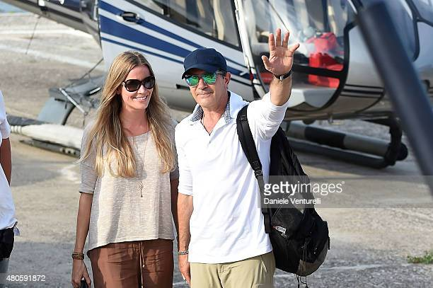 Nicole Kempel and Antonio Banderas arrive at 2015 Ischia Global Film Music Fest Day 1 on July 13 2015 in Ischia Italy