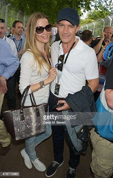 Nicole Kempel and Antonio Banderas attend Day One at the 2015 FIA Formula E Visa London ePrix at Battersea Park on June 27 2015 in London England