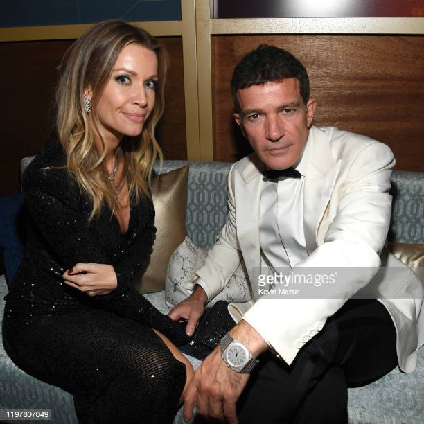 Nicole Kempel and Antonio Banderas attend The 2020 InStyle And Warner Bros 77th Annual Golden Globe Awards PostParty at The Beverly Hilton Hotel on...