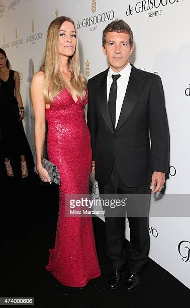 Nicole Kempel and Antonio Banderas attend the De Grisogono Divine In Cannes Dinner Party at Hotel du CapEdenRoc on May 19 2015 in Cap d'Antibes France