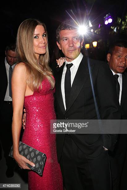 Nicole Kempel and Antonio Banderas attend the De Grisogono party during the 68th annual Cannes Film Festival on May 19 2015 in Cap d'Antibes France