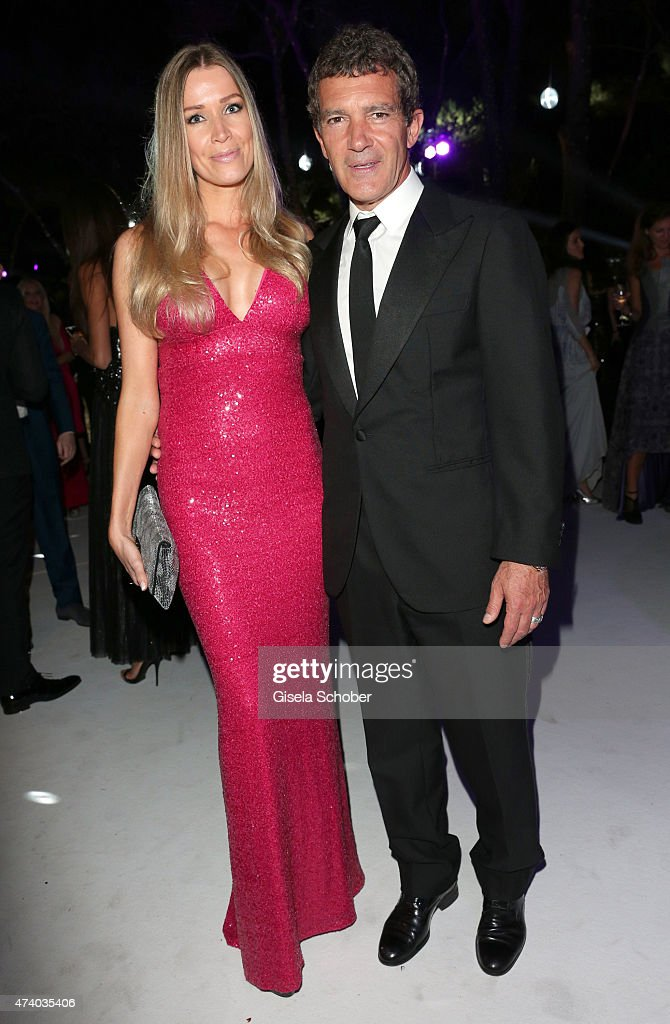Nicole Kempel and Antonio Banderas attend the De Grisogono party during the 68th annual Cannes Film Festival on May 19, 2015 in Cap d'Antibes, France.