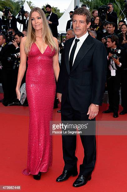 Nicole Kempel and Antonio Banderas attend the Premiere of Sicario during the 68th annual Cannes Film Festival on May 19 2015 in Cannes France