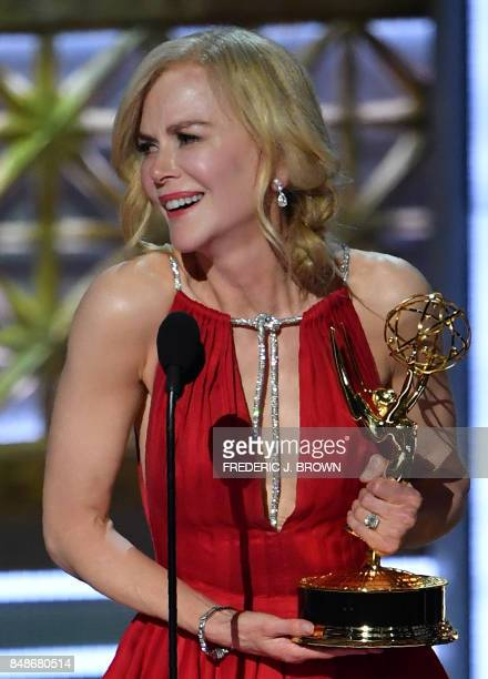 TOPSHOT Nicole Kidman accepts the award for Outstanding Lead Actress in a Limited Series or Movie for 'Big Little Lies' onstage during the 69th Emmy...