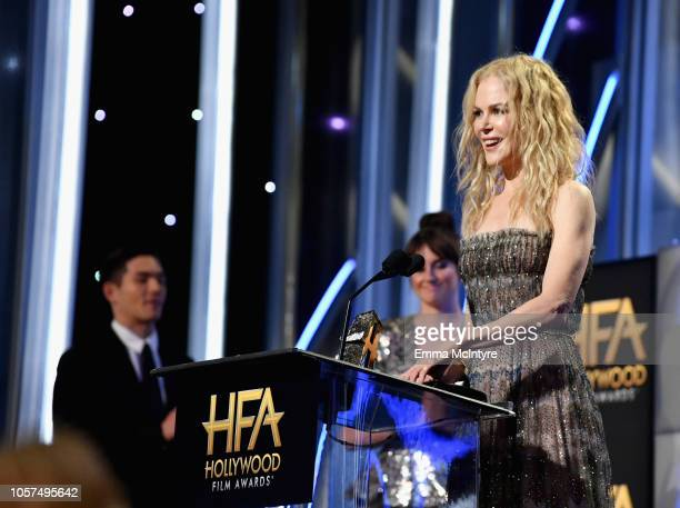 Nicole Kidman accepts the Hollywood Career Achievement Award onstage during the 22nd Annual Hollywood Film Awards at The Beverly Hilton Hotel on...