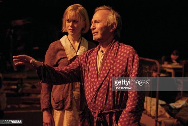 Nicole Kidman and Ben Gazzara on the set of Dogville directed by Lars von Trier Sweden 2002