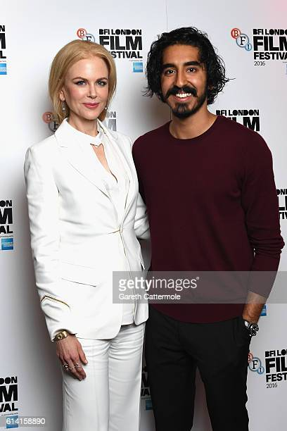 Nicole Kidman and Dev Patel attend the screen talk Nicole Kidman Dev Patel during the 60th BFI London Film Festival at Picturehouse Central on...