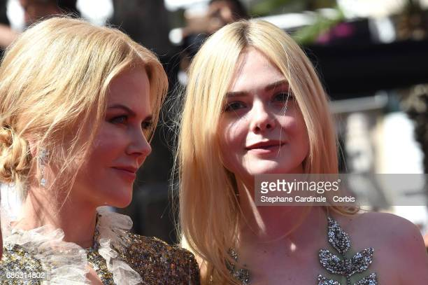 Nicole Kidman and Elle Fanning attend the 'How To Talk To Girls At Parties' premiere during the 70th annual Cannes Film Festival at Palais des...