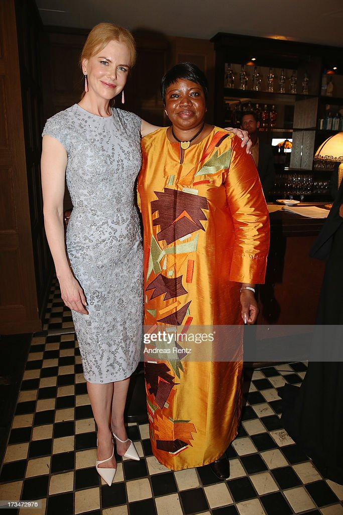Nicole Kidman (L) and Fatou Bensouda attend the Cinema for Peace UN women honorary dinner at Soho House on July 12, 2013 in Berlin, Germany.