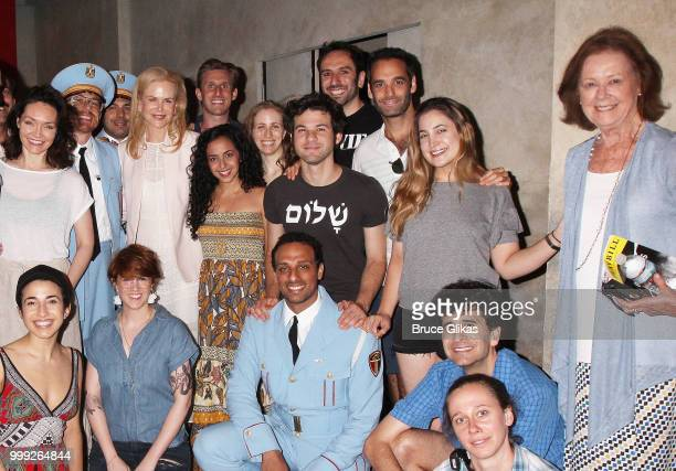 Nicole Kidman and her mother Janelle Ann Kidman pose with the cast backstage at the hit musical The Band's Visit on Broadway at The Barrymore Theatre...