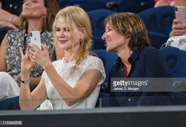 Nicole Kidman and husband Keith Urban watch Anna Wintour on court receiving the Australian Open inspiration for 2019 as they attend the 2019...