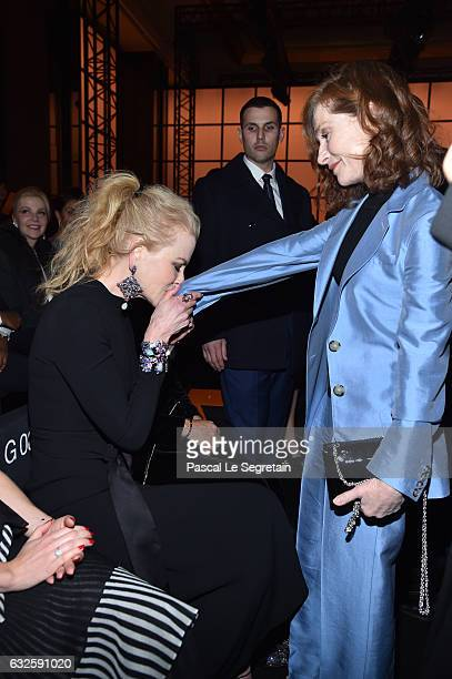 Nicole Kidman and Isabelle Huppert attend the Giorgio Armani Prive Haute Couture Spring Summer 2017 show as part of Paris Fashion Week on January 24...