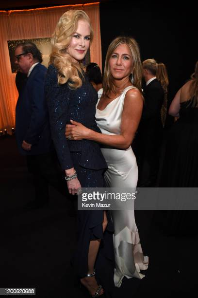 Nicole Kidman and Jennifer Aniston attend the 26th Annual Screen ActorsGuild Awards at The Shrine Auditorium on January 19 2020 in Los Angeles...