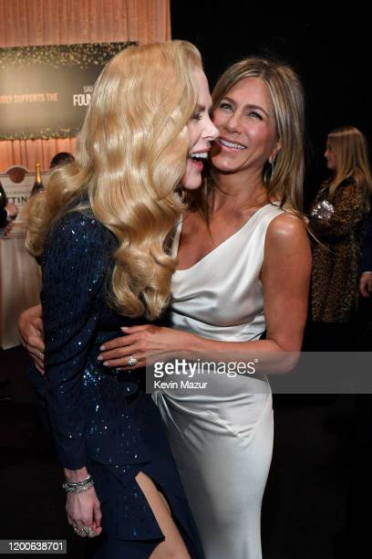 Nicole Kidman and Jennifer Aniston attend the 26th Annual Screen Actors Guild Awards at The Shrine Auditorium on January 19 2020 in Los Angeles...