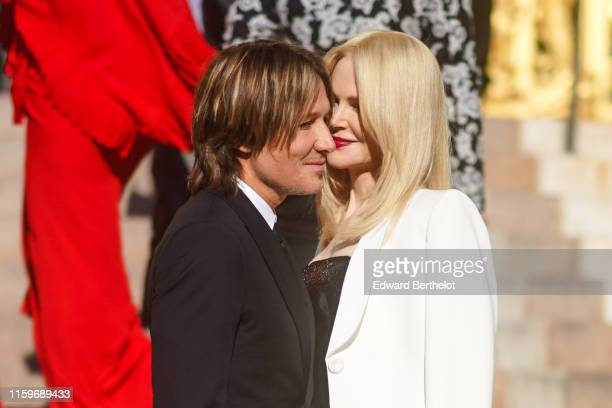 Nicole Kidman and Keith Urban are seen outside Armani during Paris Fashion Week Haute Couture Fall/Winter 2019/20 on July 02 2019 in Paris France