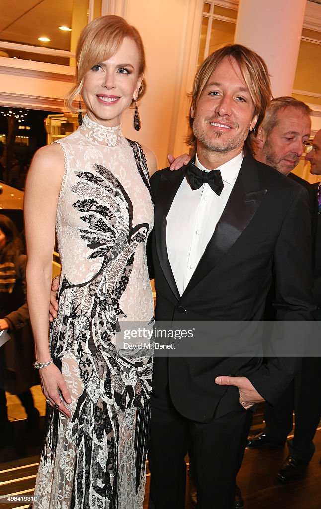 Nicole Kidman (L) and Keith Urban attend a champagne reception ahead of The London Evening Standard Theatre Awards in partnership with The Ivy at The Old Vic Theatre on November 22, 2015 in London, England.