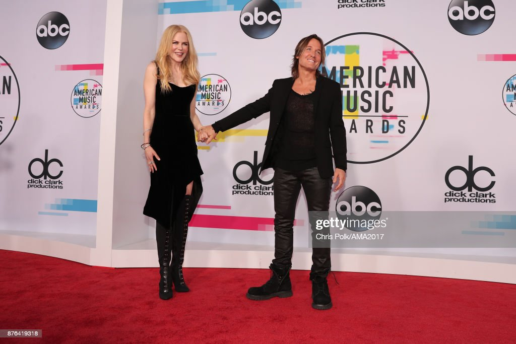 Nicole Kidman (L) and Keith Urban attend the 2017 American Music Awards at Microsoft Theater on November 19, 2017 in Los Angeles, California.