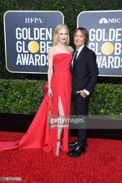 Nicole Kidman and Keith Urban attend the 77th Annual Golden Globe Awards at The Beverly Hilton Hotel on January 05 2020 in Beverly Hills California