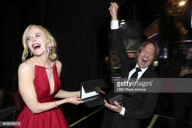 Nicole Kidman and Keith Urban backstage at the 69TH PRIMETIME EMMY AWARDS LIVE from the Microsoft Theater in Los Angeles Sunday Sept 17 on the CBS...