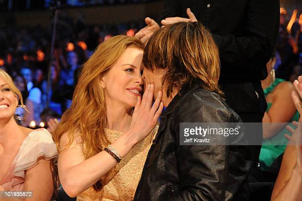 Nicole Kidman and Keith Urban kiss at the 2010 CMT Music Awards at the Bridgestone Arena on June 9 2010 in Nashville Tennessee