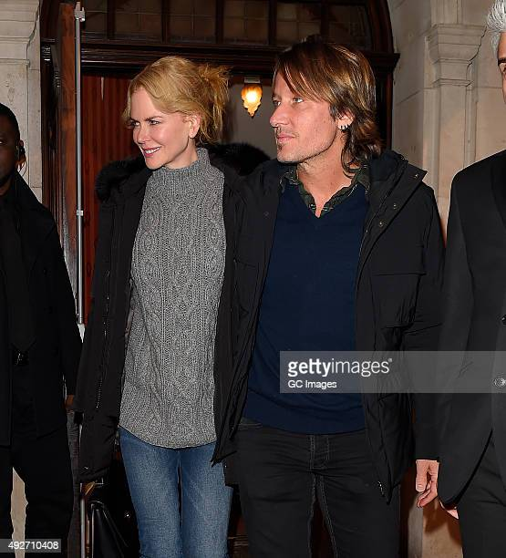 Nicole Kidman and Keith Urban leave the Noel Coward Theatre following Nicole's latest performance in 'Photograph 51' on October 14 2015 in London...