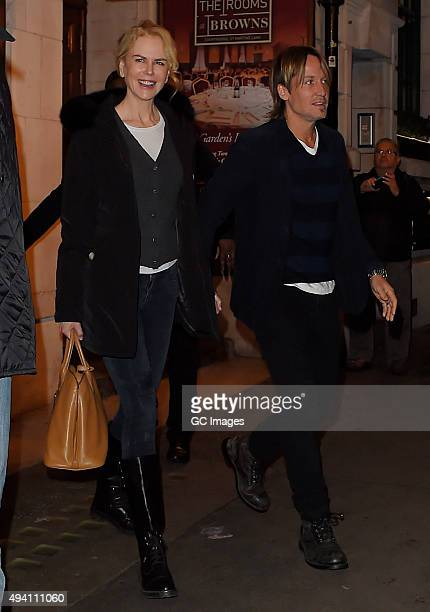 Nicole Kidman and Keith Urban leave The Noel Coward theatre following Nicole's latest performance on 'Photograph 51' on October 24 2015 in London...