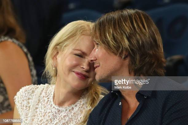 Nicole Kidman and Keith Urban looks on ahead of the Women's Semi Final match between Petra Kvitova of the Czech Republic and Danielle Collins of the...